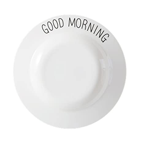 Bone China Daily Dinner plate lettering printing 3 Piece (Two hearts+Good morning+  sc 1 st  Amazon.com & Amazon.com | Bone China Daily Dinner plate lettering printing 3 ...