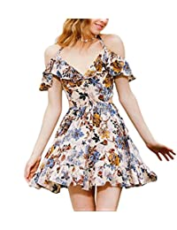 Eloise Isabel Fashion Mulheres floral dress flores bonitas imprimir ruffles festa v neck halter fora do ombro backless bonito princess dress
