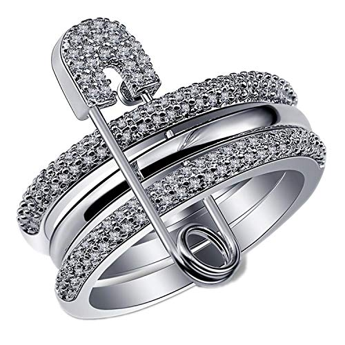 Wide Silver Finger Rings Set for Women with Pin Cubic Zircon Ring Pave Setting Female Party Accessory Angel,6 ()