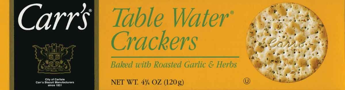 Carr's, Table Water Crackers - Roasted Garlic and Herb - 4.25 oz