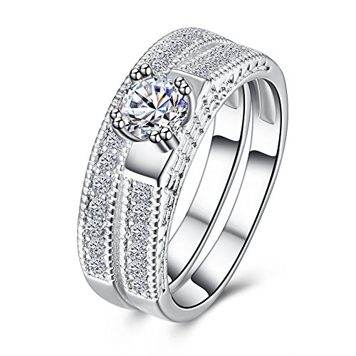 - BeautySalon Round Brilliant Cubic Zirconia Solitaire Engagement Wedding Ring Band Bridal Set