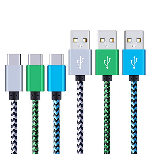 USB Type C Cable, HopePow USB-C to USB 2.0 Cable (3-Pack 6ft) Nylon Braided Fast Charging Sync Cable for Samsung Galaxy S10/9/8, Google Pixel, LG G6 V40 G5, Nexus 6P 5X, HTC,Moto
