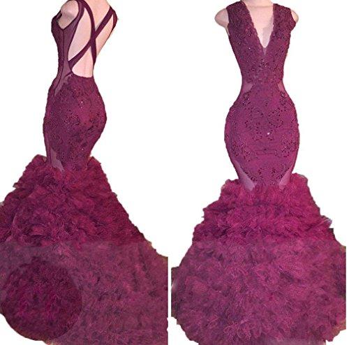 Bessdress Paillettes Cou V Robes De Bal Sirène Robe Sexy Volants Soirée Gris Bd471