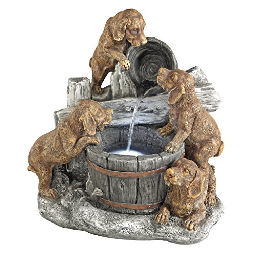 Design Toscano SH382614 Puppy Pail Pour Dog Garden Decor Cascading Fountain Water Feature, 21 Inch, Full Color For Sale
