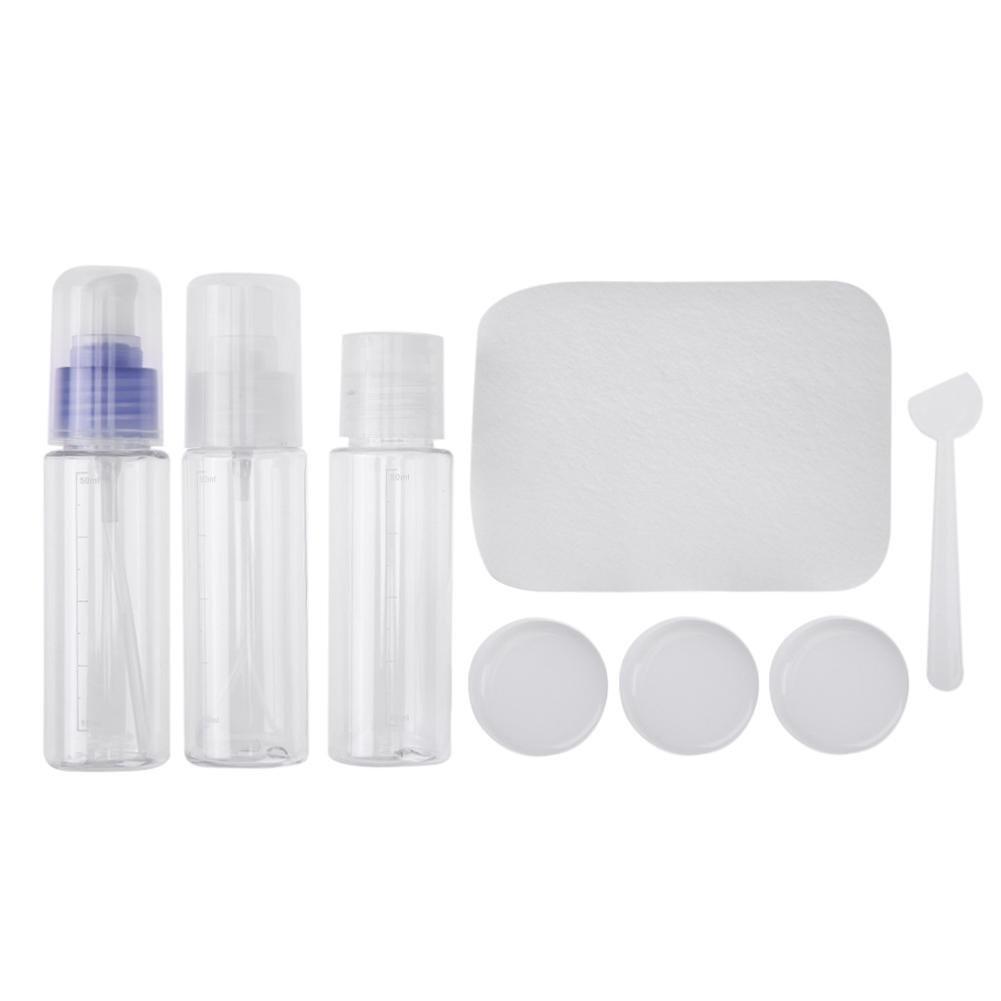 La Cabina 8pcs Portatif Cosmétique Pot Vide Voyage Pressant Vaporisateur Maquillage Bouteille Ensemble Transparent