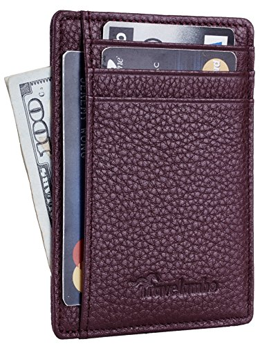 Travelambo Front Pocket Minimalist Leather Slim Wallet RFID Blocking Medium Size(pebble purple)