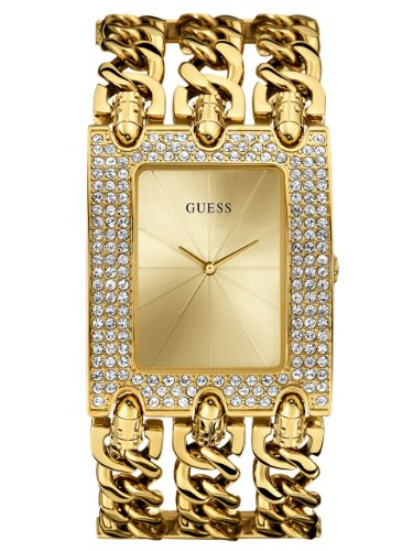 GUESS Women's U0085L1 Rocker Glitz Multi-Chain Gold-Tone Bracelet Watch (Watch Chain Bracelet)