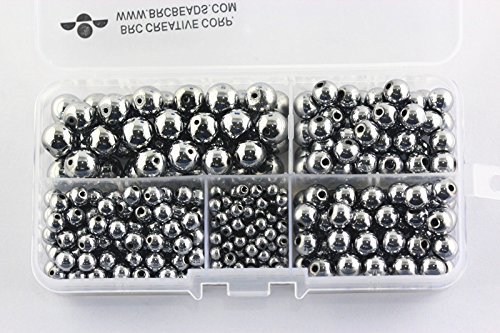 BRCbeads Silver Plated hematite Gemstone Loose Beads Round Value Box Set 340pcs Per Box for Jewelry Making (Plastic Container is Included)-4,6,8,10mm