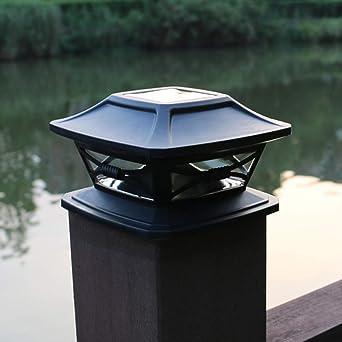 Luz solar para valla postal, lámpara LED de parque al aire libre, cubierta cuadrada tapa impermeable paisaje para balcón, patio, jardín, blanco: Amazon.es: Iluminación