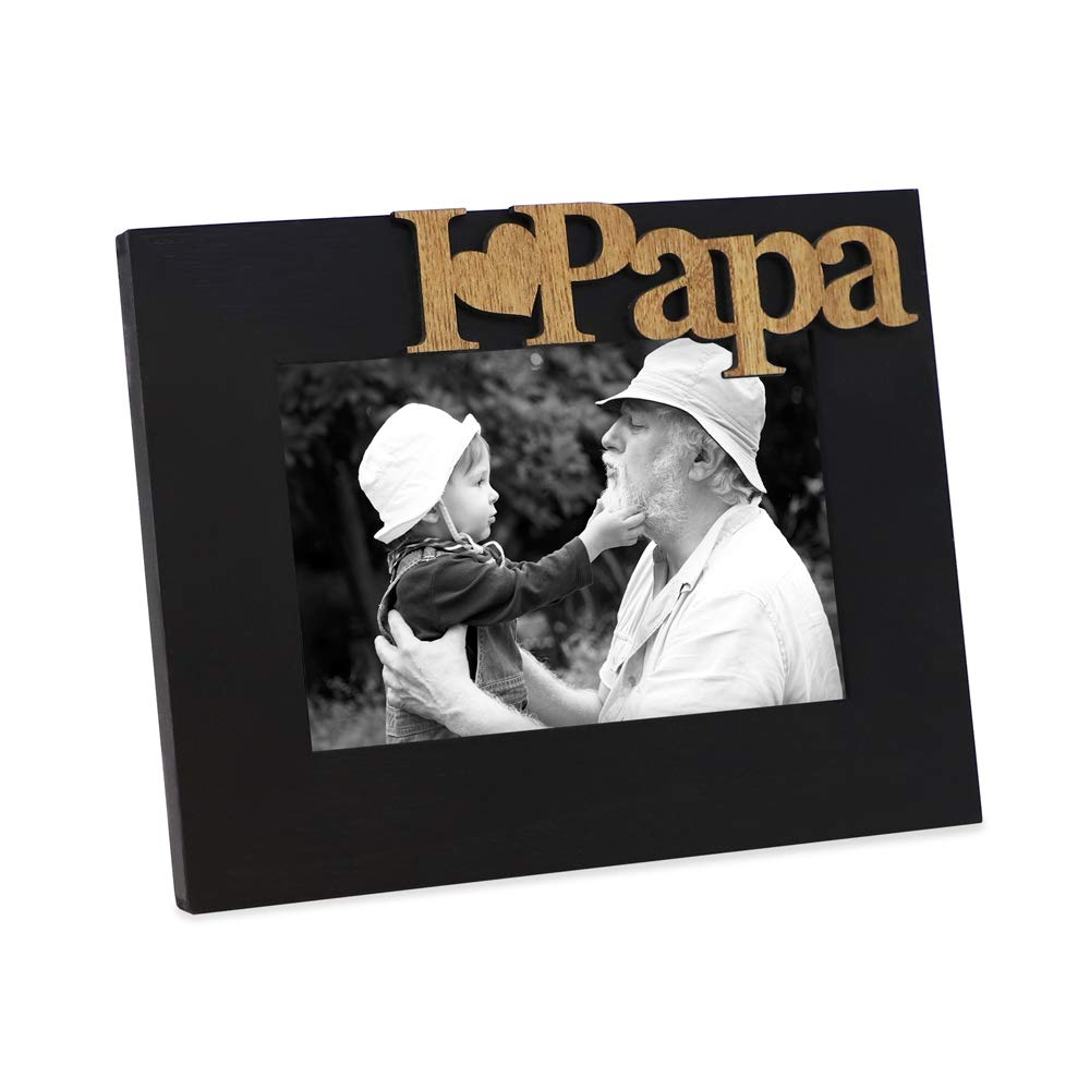 """Isaac Jacobs Black Wood Sentiments """"I Love Papa"""" / I Heart Papa Picture Frame, 4x6 inch, Photo Gift for Papa, Grandpa, Family, Display on Tabletop, Desk (Black) Isaac Jacobs International W-PAPA-BL"""