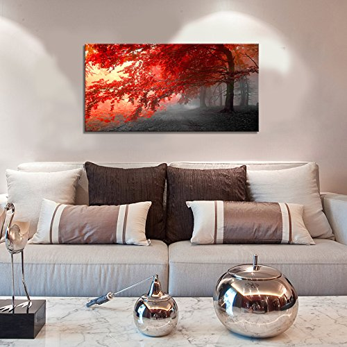 wall art Stretched Framed Ready Hang Flower Landscape Red Tree Flower Modern Painting Canvas Living Room Bedroom Office Wall Art Home Decoration by youkiswall art (Image #2)