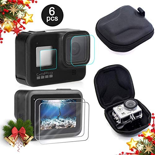 Mojosketch Screen Protector for GoPro Hero 8 + Small Hard Shell Carrying Case Accessory Bundles [2 Packs] Lens & Screen & Display Tempered Glass Screen Protector Film + EVA Travel Case Storage Bag