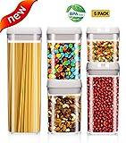 BCOKI 5-Piece Airtight Food Storage Container Set, Durable Plastic - BPA Free