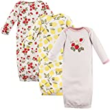 Hudson Baby Baby Infant Cotton Gown, 3 Pack, Strawberries/Lemons, 0-6 Months