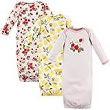 Hudson Baby Baby Infant Cotton Gowns, Strawberries/Lemons 3Pk, 0-6 Months
