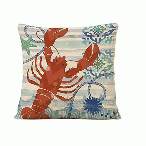 Red Lobster Cotton Linen Throw Pillow Cover Home Decorative Pillowcase Cushion Cover