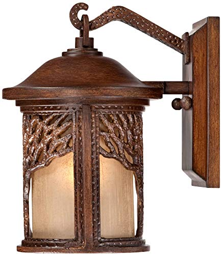 Rustic Outdoor Wall Light Fixture Bronze 9 1/2'' Tree Etched Glass Sconce for Exterior House Deck Patio Porch Lighting - John Timberland by John Timberland (Image #7)