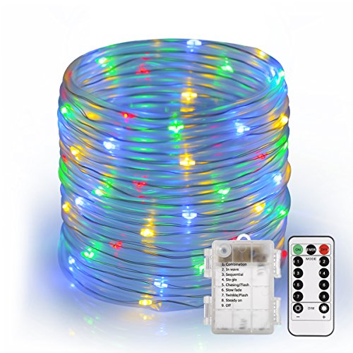 46ft Rope String Lights, S&G Battery Operated 100-LED Fairy Lights with Remote, 8 Lighting Modes Waterproof Dimmable/ Timmer Decorative Lights for Christmas Garden Patio Party(RGB)