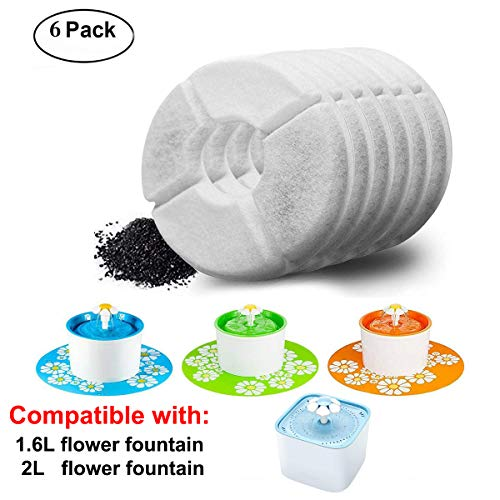 Happypapa Cat Fountain Filters 6 Pack Activated Carbon Filter Keeps Water Clear and Tasty Encourages Cats and Dogs to Drink More to Stay Healthy and Hygienic(1.6L/2L Flower Fountain)