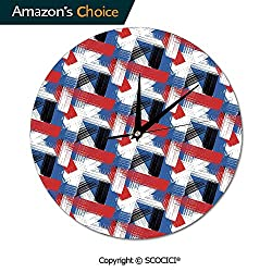 SCOCICI Home Wall Clock Geometric Grunge Bold Stripes with Artistic Silent Not Ticking Unique for Living Room Office School 10INCH