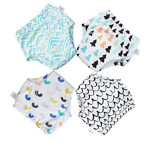 Baby Boys 100% Cotton Underwear Reusable Cloth training pants Reusable Adorable 4 Pack