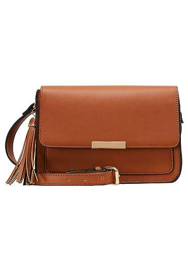 6972b8f060262 Anna Field Umhängetasche für Damen - Schultertasche mit Troddel - Handtasche  in cognac One Size