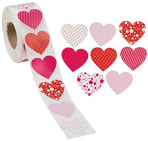 Heart Stickers - 1000 Count Colorful Heart Shape Sticker Labels, Roll of Stickers for Valentine's Day, Classroom Exchange, Student Rewards, Party Favors, Envelope Seals, 8 Designs, 1.5 Inch