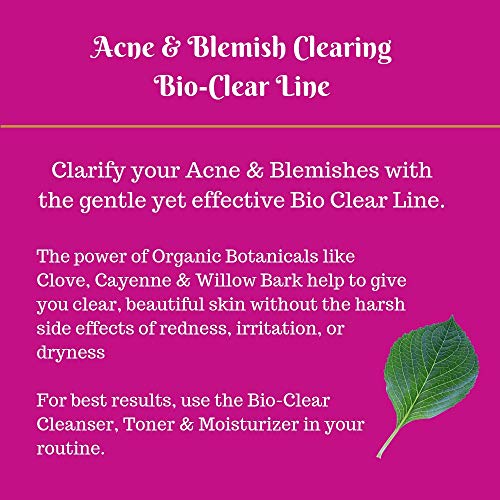 Organic Gentle Face Moisturizer for Acne & Blemish Prone Skin | Bio Clear Relieves Pimples, Dark Spots For Clear Skin | Boosts Hydration, Unclog Pores | Organic Aloe Vera & Coconut Oil