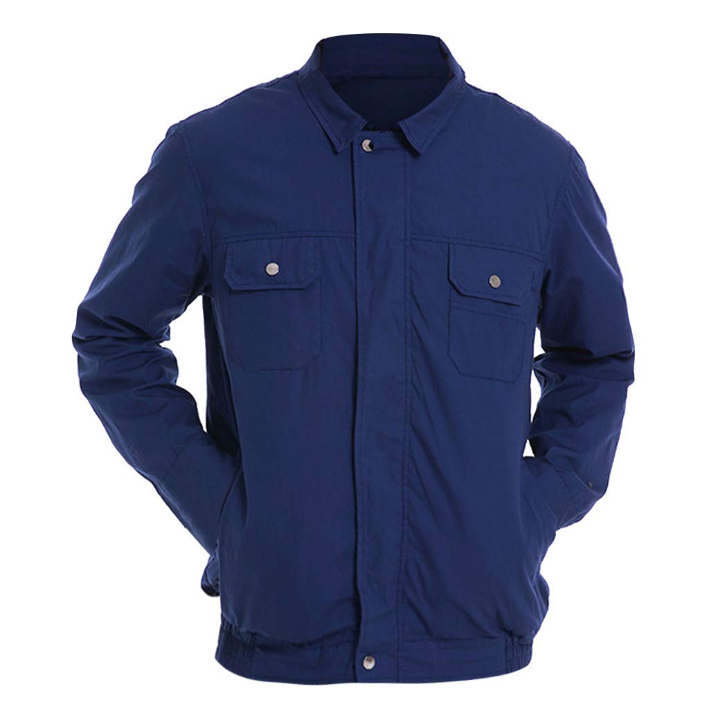 Flurries  Workwear Fan Equipped Cooling Casual Jacket for Summer Outdoors - Air Conditioned Clothes Uniform Coat Sportswear Windbreaker - for Worker Delivery Man Cook Farm (Blue, L)