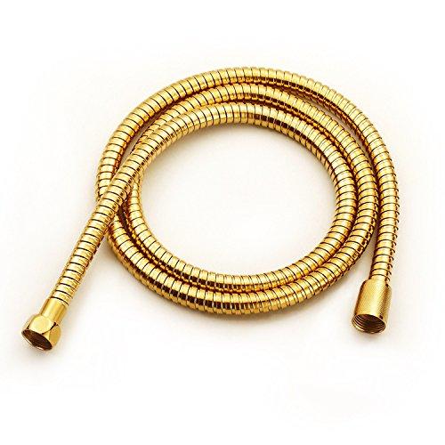 (Shower Handheld Hose Polished Gold 59 Inch Solid Brass Bathroom Handheld Shower Sprayer Extension Gold For Bathroom)