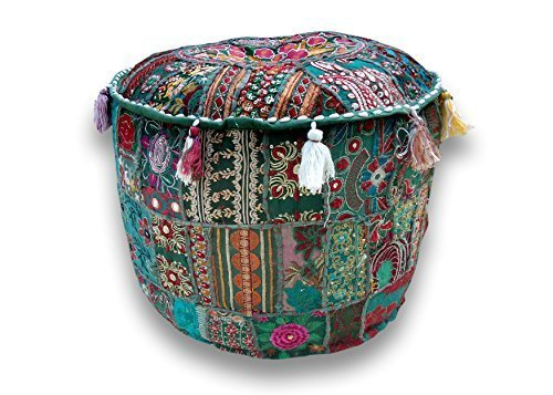 ''Rajasthali'' Indian Traditional Home Decorative Multi Ottoman Handmade and Patchwork Foot Stool Floor Cushion, Size 14 X 18 X 18 Inches[Cover only; insert not included ]