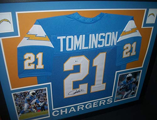 Ladainian Tomlinson Autographed Signed Chargers 35X43 Framed Throwback Jersey Beckett Coa