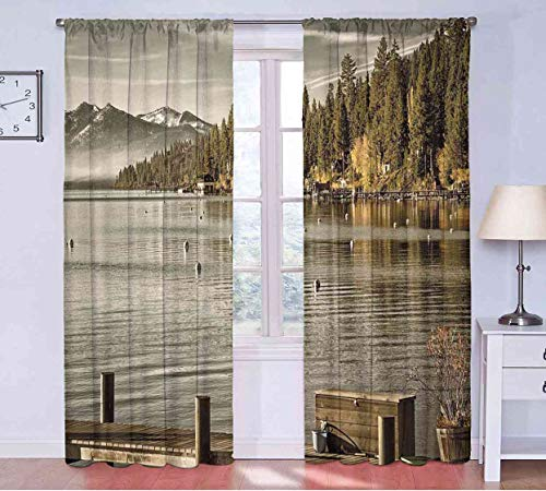 (Blackout Curtains Forest,Trees at Lakeside Carnelian Bay Tahoe California USA Boardwalk Tranquil Scene,Green Sage Green Curtains x Pattern W108 x L108(274cm x 274cm))