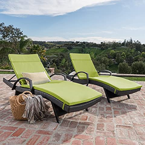 Olivia Patio Furniture ~ Outdoor Wicker Chaise Lounge Chair with Arms with Green Cushion (Set of 2)