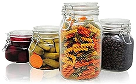 PriorityChef 4 Piece Glass Storage Jars, Perfect For Storing Coffee, Sugar,  Flour