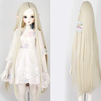 Peluca de muñeca BJD SD de 9 – 10 pulgadas 1/3 BJD peluca de muñeca resistente al calor de fibra larga blanca rubia recta Fairy Maiden muñeca pelo SD BJD muñeca peluca: Amazon.es: Belleza