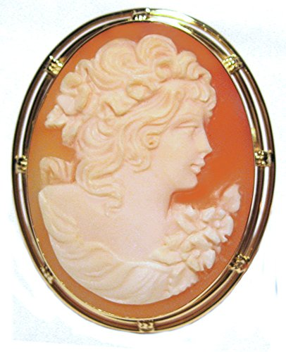 Romantica Master Carved, Cameo Pin Pendant Carnelian Shell 18k Yellow Gold Framed Italian