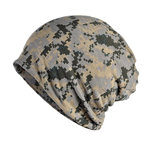 SEADEAR Multifunctional Unisex Fashion Casual Outdoor Dual-use Camouflage Hat Slouch Beanie Hat Warm Earmuffs Scarf Scarves(Camo#2)
