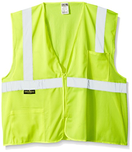 Radians SV2ZGM3X Polyester Mesh Economy Class 2 High Visibility Vest with Zipper Closure, 3X-Large, -