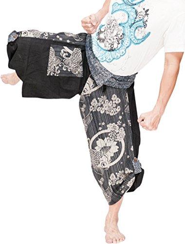 BohoHill Samurai Harem Pants Indigo Dye Wrap Waist Japanese Koi Fish Sakura