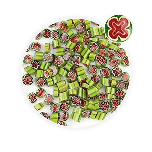 Millefiori Glass Beads Red &Green Cross Shaped Stained Glass Fusing Supplies (Glass Millefiori Cross)
