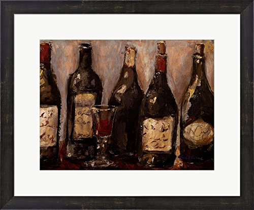 Wine Bar with French Glass by Nicole Etienne Framed Art Print Wall Picture, Espresso Brown Frame, 23 x 19 inches