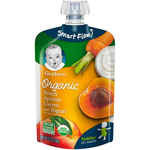 Gerber Purees Organic Peach Apricot Carrot & Yogurt Toddler Pouch (Pack of 12)
