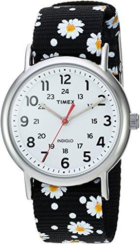 Timex Women's TW2R24100 Weekender Black Floral Reversible Nylon Slip-Thru Strap Watch