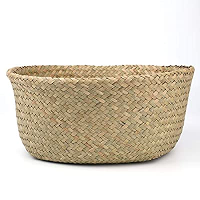 Yesland 2 Pack Woven Seagrass Plant Basket with Handles, Ideal for Storage Plant Pot Basket, Laundry, Picnic, Plant Pot Cover, Beach Bag and Grocery Basket (L) : Garden & Outdoor