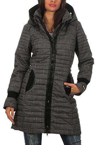 Khujo Dark F34 Para De Con Grey Capucha Abrigo Mujer Check Melange 0xwAPXZqx