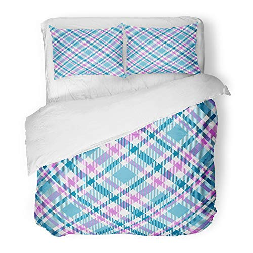 Emvency Decor Duvet Cover Set King Size Diagonal Tartan Plaid Pattern in Pink White Cyan Green Teal Bedclothes Bedding Check 3 Piece Brushed Microfiber Fabric Print Bedding Set Cover ()