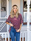 f7492a330a85 Tickled Teal Women's Stripe Round Neck Loose Fit Flared Sleeve Blouse Tee  Top (Burgundy White, Small)