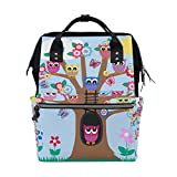 WOZO Tree of Life Owl Butterfly Floral Multi-function Diaper Bags Backpack Travel Bag
