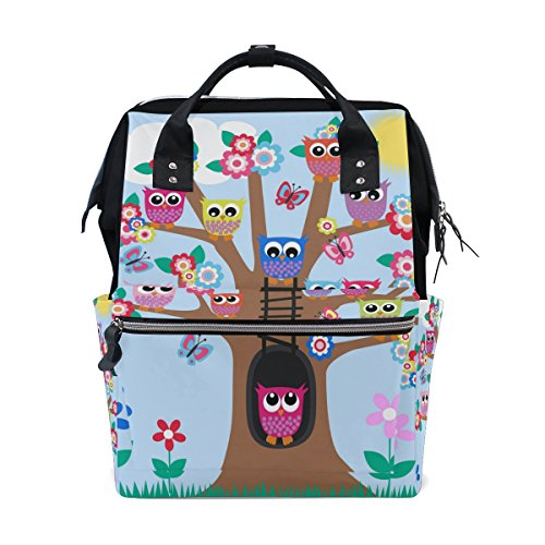 WOZO Tree of Life Owl Butterfly Floral Multi-function Diaper Bags Backpack Travel Bag by WOZO